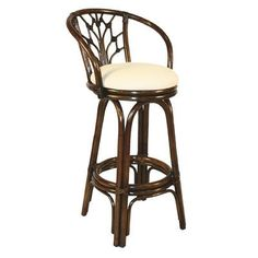 "Hospitality Rattan Valencia 24"" Swivel Bar Stool & Reviews 