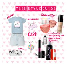 """Teen Style Guide >_"" by style-queenxoxo on Polyvore featuring LE3NO, adidas, Unicorn Crafts, Sephora Collection, Urban Decay, Too Faced Cosmetics and Smashbox"
