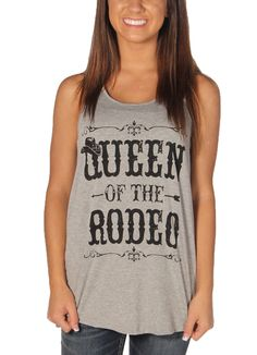 This Queen Of The Rodeo racer back tank top in grey features a scoop neckline, rounded hemline, and large graphic in black says ''QUEEN OF THE RODEO'',.tg {border-collapse:collapse;border-spacing:0;}.