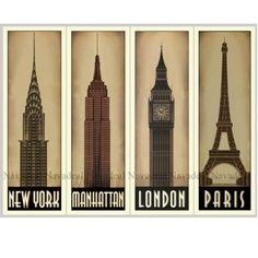 4Pc Chrysler Empire Elizabeth Eiffel Tower Building Art Decorative Canvas Poster