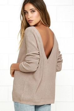 The Just For You Light Brown Backless Sweater has a chill look that keeps you from getting chilly! Slouchy knit falls from a wide, rounded neckline to a trendy, low V-back. Relaxed bodice and loose long sleeves taper slightly to ribbed knit hems.