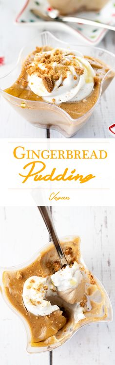 Vegan Gingerbread Pudding Pots with a whipped Coconut Cream Topping. Simple, creamy, delicious.