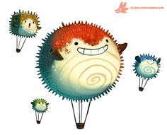 Daily Paint #1085. Pufferfish Air Balloons by Cryptid-Creations.deviantart.com on @DeviantArt