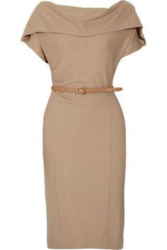 Donna Karan Belted stretch wool-blend dress