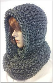 Serenity Hooded Scarf - free crochet pattern by Tina Lynn Creations. Aran weight. Sizes child, adult and XL.