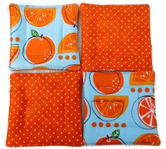cute little gift idea... Quilted Coaster Set Orange Slice Coaster Set by KelleenKreations