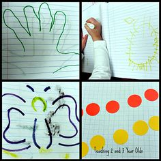 How to do journaling with 3-year-olds. Great indirect preparation for writing and coloring at age 4 and journaling and drawing at age 5.