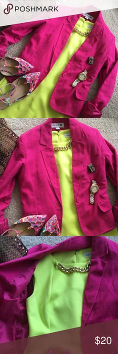 🎀 Hot Pink Work Blazer Forever 21 Sz Medium NWOT Show off your work style in this hot raspberry pink blazer from Forever 21. No flaws and made in a lovely linen and cotton blend. No stretch so it doesn't fit my long arms but fits true to size. Has functional pockets and an inner lining. 🌿 56% Linen 🌿 44% Cotton 🌿 100% Polyester inner lining 🎀 Never worn, no rips, stains, tears or flaws 🎀 Tags: work, blazer, coat, sweater, Forever 21, Forever, XXI, pink, red, pockets, medium, M, lined…