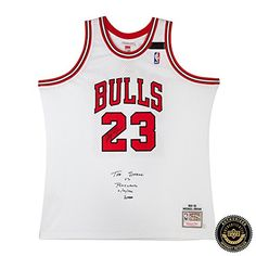 best service 8705d 7790e Michael Jordan Autographed Signed NBA Chicago Bulls Mitchell   Ness White  1992 Jersey with