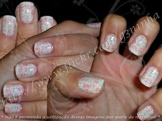 XL-A or B, Puzzle print over sponged manicure
