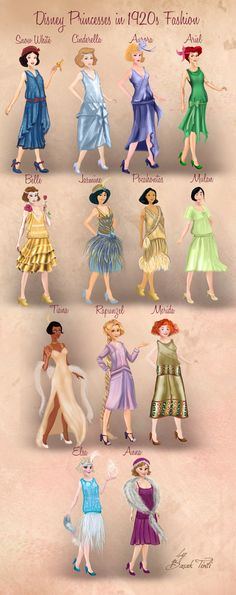 Disney Princesses in 1920s Fashion by Basak Tinli by BasakTinli