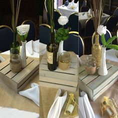 Shabby chic center pieces. Aged crates, milk glass vases, gold and green wine bottles, burlap and mason jars, doily flowers and succulents.