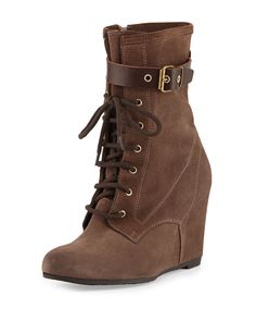Andre Assous Fergie Suede Wedge Bootie, Taupe