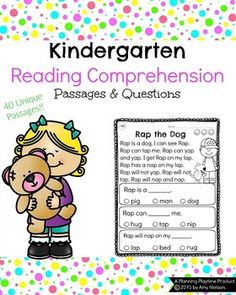 Kindergarten Reading Comprehension Passages This is a set of 40 unique reading comprehension passages for kindergarten and grade readers. The passages focus on CVC words with a few sight words and other simple words to tell a story. This set is for Phonics Reading, Kindergarten Reading, Reading Activities, Kindergarten Worksheets, Kindergarten Activities, Teaching Math, Teaching Ideas, Summer Worksheets, Reading Games