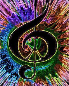 Peace through Music Hippie Peace, Happy Hippie, Hippie Love, Hippie Style, Hippie Music, Hippie Chick, Fractal Art, Fractals, Peace Sign Art