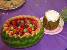 Watermelon fruit basket, with pineapple juice infused cream cheese based whipped cream.