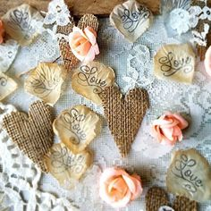 Rustic Wedding Table Runner Burlap and Lace Burgundy Flowers Confetti Toss Or Centerpiece for Bridal Shower Engagement Parties 175 pieces