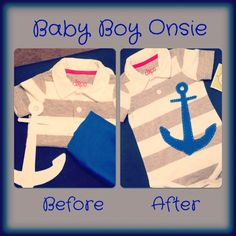 Store bought boy 9m stripe onsie, with fabric anchor sewn on.