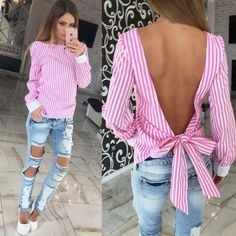 chemisier femme Summer Fall Tops Women Shirts O-neck Long Sleeve Sexy Backless Bandage Striped Ladies Blouse Blusas Blouse Sexy, Long Blouse, T-shirt Dos Nu, Blouses Roses, Sexy Bluse, Backless Shirt, Mode Outfits, Blue Fashion, Korean Fashion