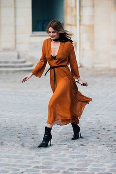 Paris FW SS18 rust orange wrap dress