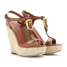 Burberry London Clayton Espadrille Wedges ($335) ❤ liked on Polyvore featuring shoes, sandals, wedges, heels, sapatos, tan, heeled sandals, espadrille wedge sandals, high heeled footwear and high heel sandals