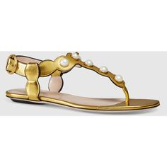 Gucci Willow Leather Thong Sandal (£455) ❤ liked on Polyvore featuring shoes, sandals, flat sandals & thongs, metallic gold, women's shoes, flat leather sandals, leather ankle strap sandals, ankle strap flat sandals, leather buckle sandals and buckle sandals