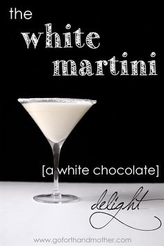 The White Martini [a white chocolate delight]: made with creme de cacao, whipping cream, and a specialty vodka. Would be a great signature drink for a wedding!
