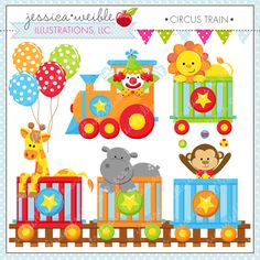 Circus Train - adorable clipart for invitations, scrapbooking, crafts and more. Train Clipart, Cute Clipart, Circus Characters, Polka Dot Balloons, Circus Party, Digital Stamps, Baby Quilts, Adobe Illustrator, Paper Crafts
