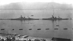 15 in battlecruisers HMS Hood and HMS Renown at Gibraltar in the early 1930s: it is not obvious here, but Hood mounted 8 guns to Renown's 6, and was some 13000 tons heavier. These two plus Renown's sister Repulse were by then the only battlecruisers remaining in Royal Navy service.