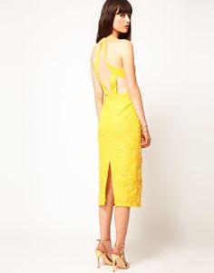 ASOS Diamond Back Midi Dress with Floral Embellishment