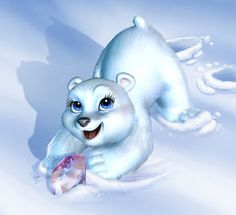 Shiver the Polar Bear Cub and the sparkling gem stone from Barbie and the Magic of Pegasus Barbie Pegasus, Barbie Cartoon, Barbies Pics, Barbie Images, Barbie Movies, Barbie Princess, Fairy Princesses, Barbie World, Mattel Barbie