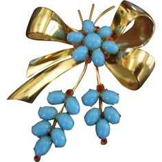 Coro Sterling Vermeil Bow Brooch with Faux Turquoise and Red Rhinestones