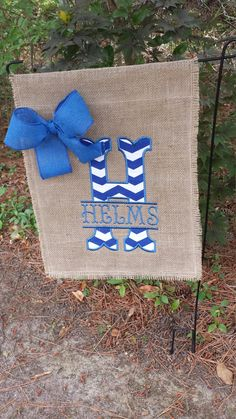 Teacher's Gift, Wedding Gift, Garden Flag, Burlap Flag, Burlap Garden Flag, Name Flag, Split Letter Burlap Flag, Outdoor Flag by Marijeans on Etsy