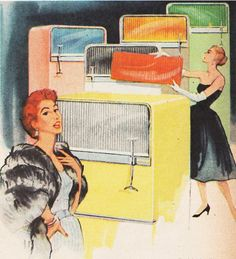 Detail from a 1956 Frigidaire Ad. Aaaahhhh! I want a fridge with changeable color panels!!!