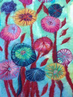 Wet felt - machine embroidery