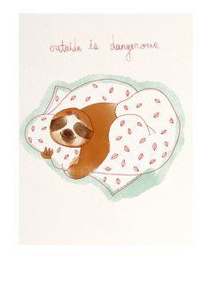#lazy, #sloth, #illustration, #daylife