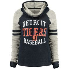 Women's Detroit Tigers 5th & Ocean by New Era Navy French Terry Cowl Neck Tri-Blend Sweatshirt