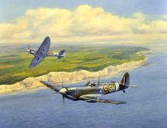 The pilots are, top Spit Donald Kingaby 64 Sqn Hornchurch, first kill to the Mk IX and the 18th of 21 victories, nearest Spit, Wilfred Duncan Smith 64 Sqn.