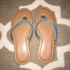 Banana Republic braided turquoise sandals These flip flops are a size 5, and I'm almost always a 5. However these run very small and were too small for me! I find that they run narrow. They're beautiful and very lightly worn. Banana Republic Shoes Sandals