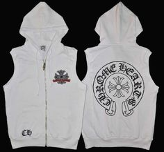 f104846c808 White Chrome Hearts Vest Hoodie with Black Cross Horseshoes Cheap