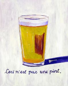 """Beer Oil Painting: """"Leci n'est pas une Pint"""" // Beer Pint Print, Gift for Husband, Bar Art, René Magritte, Gift for Beer Lover, Man Cave Art"""
