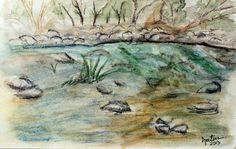 Spring Verde - Watercolor painting of the Verde River, in Arizona.