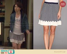 """Lily's striped skirt, denim jacket and """"Amour"""" top on How I Met Your Mother.  Outfit Details: https://wornontv.net/29310/ #HIMYM"""