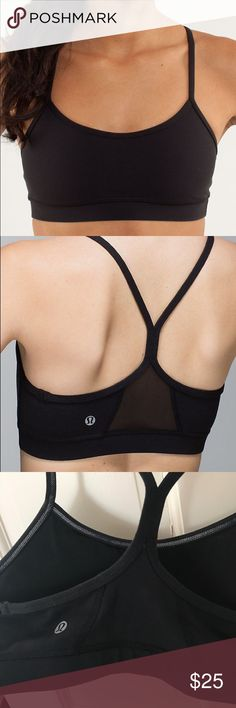 Lululemon Flow Y Bra Black. Size 6. Lululemon sports bra. Worn a few times, but in great condition. Mesh back panel. Removable padding (included). lululemon athletica Intimates & Sleepwear Bras