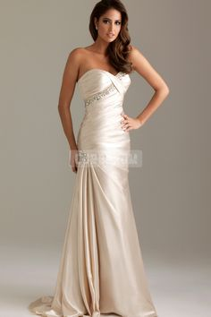 Satin Long Sleeveless Ivory Sweetheart Evening Dress