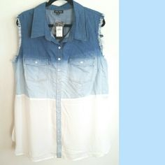 """City Chic 22 NWT Ombre Denim Button Up Shirt This New With Tags City Chic button-front shirt starts out with classic denim, gets bleached, and switches to floaty chiffon at the waist for an ombre look. Frayed at the arm openings. 70% cotton, 30% lyocell with 100% polyester chiffon contrast. Tag size XL is City Chic's size 22. 33"""" long. Bust: 25"""" across laying flat, measured from pit to pit, so 50"""" around. ::: Bundle 3+ items from my closet and save 30% off when you use the app's Bundle…"""
