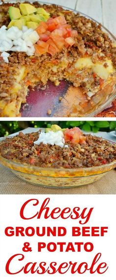 Layers of Potato, Beef, Cheese and more in this easy comfort food recipe (Favorite Pins Ground Beef) Casserole Dishes, Casserole Recipes, Meat Recipes, Mexican Food Recipes, Dinner Recipes, Cooking Recipes, Healthy Recipes, Casseroles Healthy, Hamburger Recipes