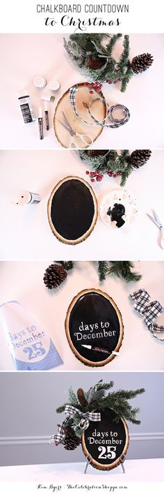 Easy DIY Chalkboard Countdown to Christmas - Advent Idea made with Cricut Explore by Kim Byers from The Celebration Shoppe!