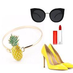 Pineapple Bracelet  How cute!. Gold tone fashion bracelet. Jewelry Bracelets