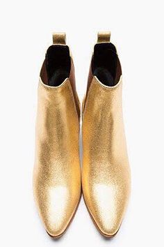 Saint Laurent Metallic Gold Leather Chelsea Ankle Boots for women Bootie Boots, Shoe Boots, Mode Shoes, Gold Boots, Paris Mode, Peep Toe, Chelsea Ankle Boots, Estilo Fashion, Gold Leather